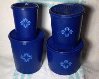 Vintage Tupperware Canister set - Rare Cobalt Blue!