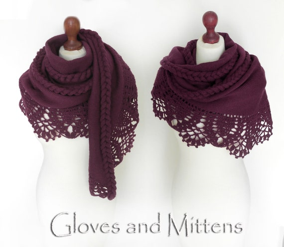 Wine Color Shawl Cranbery Wrap Maroon Stole Knitted Cover Up Bolero ...