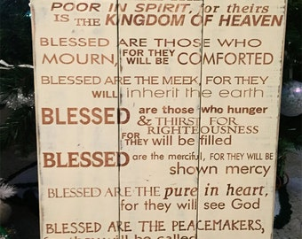 The Beatitudes Plaque • Scripture wood sign • Shabby Chic Blessed Decor • Bible Verse Sign • Custom Scripture Hanging • Rustic Scripture Art