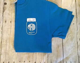 Pocket size Monogram Mason jar t-shirt // Mason jar monogram shirt // monogram shirt // Mason jar monogram //