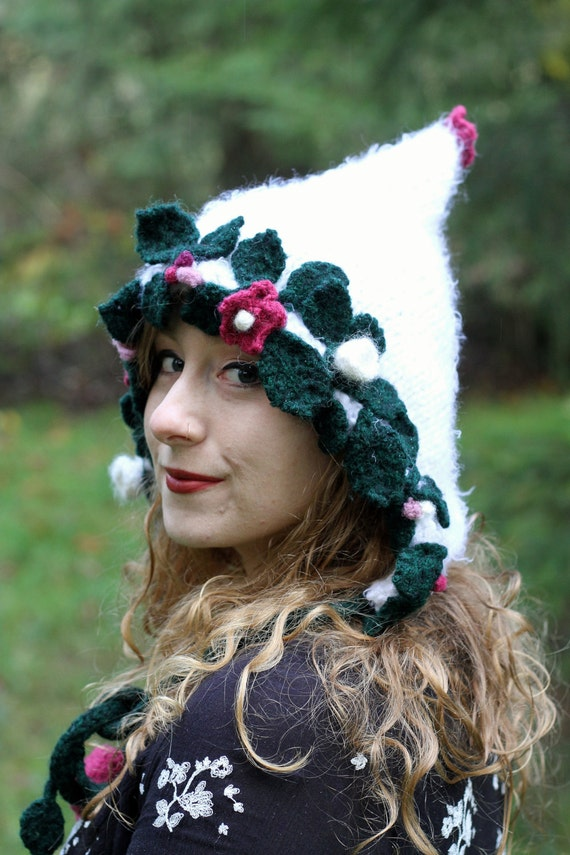 Knit woodland white pixie hat/hood with wet-felted leaves, flowers, and vines for your inner sprite.