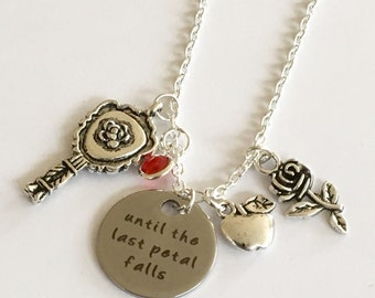 Until the last petal falls Handmade necklace Beauty and the Beast Jewelry free birthstone and gift bag