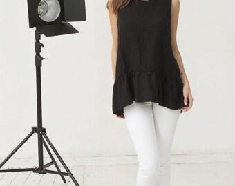 Black linen sleeveless blouse with ruffles. Oversized loose fit tunic. Stonewashed linen womens clothing.