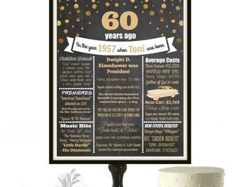 60th Birthday Chalkboard Sign, 1957 Sign, Personalized 60th Birthday party, 60 birthday decorations, 60 years, Milestone Birthday, PRINTABLE