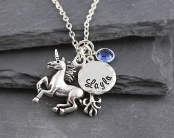 Unicorn necklace, personalized jewelry, name necklace, swarovski birthstone, personalized unicorn gift, birthstone necklace, hand stamped