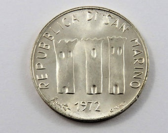 San Marino 1972 Silver 500 Lire Coin. Low Mintage