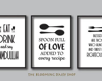 Islamic Art-Islamic Wall Art-Islamic Kitchen-Muslim Kitchen wall art-Muslim Kitchen Printables-Kitchen poster-Eat Drink Laugh-ISLAM-Set of 3