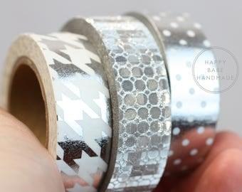 """Silver Washi Tape, 10 Yds Each, 9/16"""", Silver Washi Set, Silver Foil Washi, Decorative Tape, Houndstooth Washi, Polka Dot Washi, Sequin Tape"""