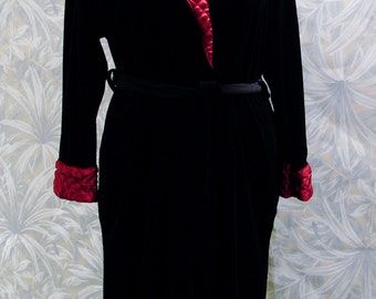 Velour Robe Black with Red Collar Accent-Size Large