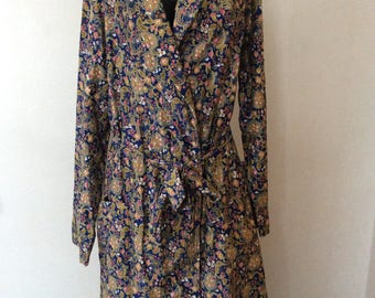 1970's Mens Floral Paisley Smoking Jacket Robe 40 Made in New Zealand Dressing Gown by Klipper