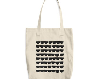 Scandinavian Print Canvas Tote Bag Black and White Half Moon 100% Cotton Bag