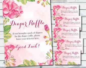 Baby Shower Diaper Raffle Ticket Inserts And Diaper Raffle Sign, Baby Diaper Raffle Card, Floral Baby Shower Cards, Peony, Instant Download