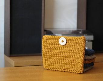 Big Yellow Crocheted Cosmetic Bag