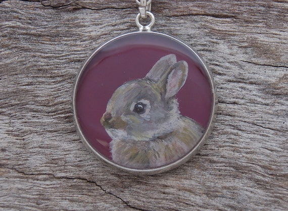 Hand Painted Rabbit Pendant
