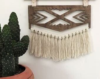 Arrow Wall Hanging || Wood, Brass, Yarn, Leather Tapestry