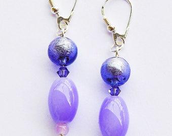 Pierced earrings, 925 sterling silver, pearls Swarovski, Agate, Indian. LBC15102016
