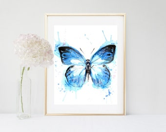 Blue Butterfly Print, Printable Art, Butterfly Art , Watercolor Butterfly, Instant Download,  Home Decor, Wall Decor, Wall Art