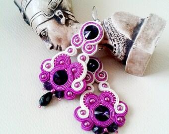 Soutache Earrings fuchsia, dark purple, ivory colors- Soutache earrings  -  Handmade Earrings