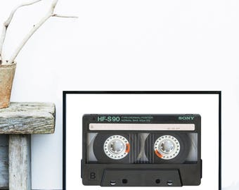 Cassette Tape Art, Black And White Art, Retro Print, Mid Century Modern, Giclee print, Wall Art, Home Decor, Wall Decor, Poster