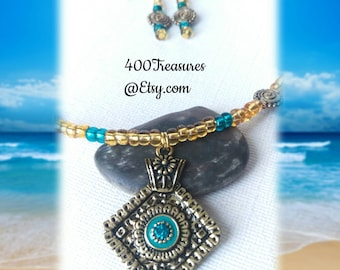 SALE* Atlantis Necklace Gold Pewter embellishments. One of a kind. Necklace