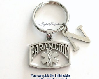 Paramedic Keychain, EMT Key Chain, Emergency Medical Gift, Emblem Symbol Keyring Initial Letter custom personalized seller in PEI Canada