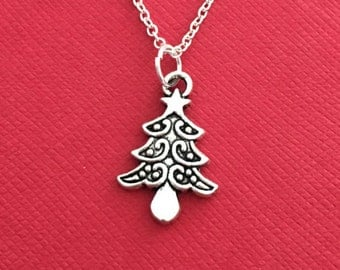 Tree Jewelry,  Pine Tree Necklace, Gift for Christmas Silver charm Holiday present Short Long Chain Christmas daughter son girl Forestry boy