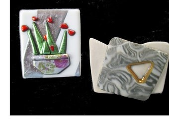 Abstract  Pins * Mid Century Modern * Handcrafted * Gift for Her * Lot Of Two Pins