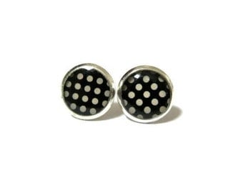 Black and White POLKA DOT EARRINGS - pin up girl earrings - polka dot earrings - vintage style earrings - gifts for her - hypoallergenic