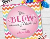 Bubble Gum Valentines, Kids Valentine Cards, Bubble Valentines, Blow Me Away Valentines, Kids Valentines, Gum Valentines Card | PRINTABLE