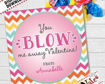 Bubble Gum Valentine, Blow Me Away Valentines, Kids Valentines Cards, Valentine's Cards, Valentine's Day Tags   PRINTABLE