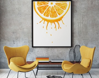 fruit art citrus print orange print watercolor fruit print watercolor orange slice kitchen painting citrus large watercolor large wall art