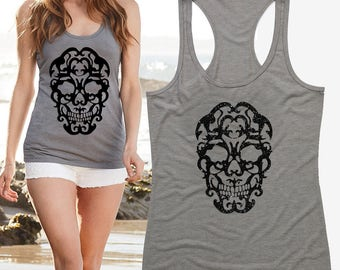 Sugar Skull Shirt Womens Skull T Shirts Skull Top Skull Clothing Floral Skull Tee Shirt Skull blouse Skull Tshirt Skull Dress Skull Clothes