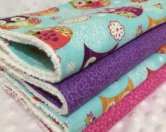 SALE!!Baby Burp Cloths Set, Baby Shower Gift, New Mum, Girls burp cloth, Animal burpcloth, Feeding, Newborn Burp Cloth, Owl Burp Cloth, Pink