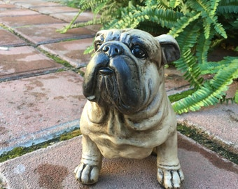 English Bulldog Dog/Garden Statue/Decorative Home Decor /Hand Painted /Princess/British Bulldog/ Pug Nose Doggy Woof Woof, Item #486866374