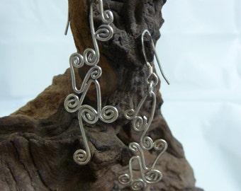 Silver swirly earrings
