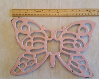 vintage metal pink butterfly trivet / hot pad plate - hanging wall art italy 1970's - leonard silverplated breast cancer color - kitchen