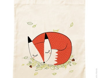 Tote Bag organic cotton * sleepy Fox * / groceries / Animal / forest / green / vacation / Beach