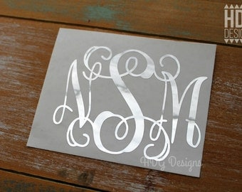 Monogram Decal - Silver Monogram Decal - Yeti decal - RTIC decal - Wedding decal - Bridesmaid decal - Bride decal - Foil Monogram decal