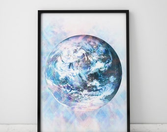 Wall Art Large Poster Earth Print Blue Wall Art Poster Earth Art Blue Prints Earth Day Spiritual Art Blue Art Spiritual Gifts Ethereal Art