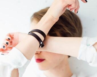 Leather bracelet, Double wrap bracelet, Women leather bracelet, Leather bangle Brown leather bracelet wrap around wrist, wrap bracelet