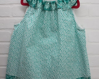 Girls Dress 2T, Handmade Girls Dress, Girls Pillowcase-Style Dress, Girls Ruffled Neckline Dress, Girls Turquoise Dress