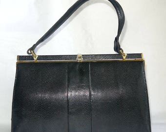 1960s Jane Shilton Leather Frame Bag Dark Navy Blue Mock Croc