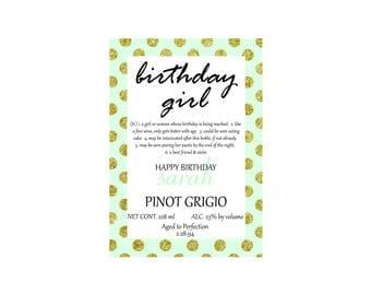 Birthday Girl Pinot Grigio Wine Label