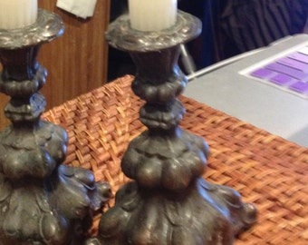 Baroque Two Very old Antique Candlestick Holders from Finland Cast Metal Very heavy
