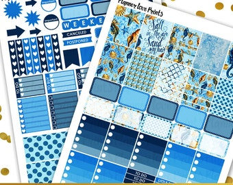 SEA AND SAND  Printable Planner Stickers | Instant Download | Pdf and Jpg Format
