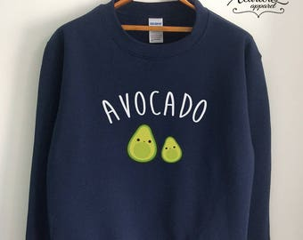 Vegan Sweater Vegan Sweatshirt Vegetarian Sweater Jumper Avocado Shirt Avocado Sweater Avocado Sweatshirt Women Girls Men Black/Grey/Navy