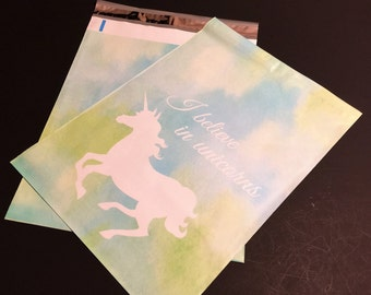 25 Designer UNICORN Poly Mailers 10x13 Blue And Green Watercolor  Envelopes Shipping Bags