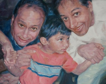 Custom Portraits from Photo. Family Portraits Oil Paintings Wall Decor. Personalized Gift. Impressionist Couple Portrait Paintings on Canvas