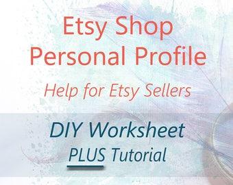Etsy Shop Profile Page Help - DIY Brainstorming Worksheet & Tutorial. About Me Writing Help. Personal Bio, Seller Guide, Etsy Tutorial