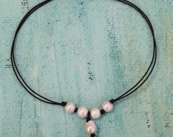 Pearl and Leather Choker, Pearls, Leather Necklace, Fresh Water Pearls